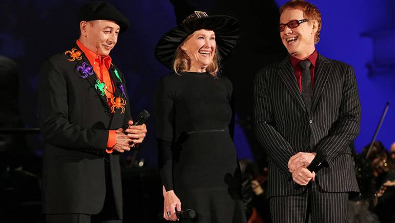 """PaulReubens, Catherine O'Hara and DannyElfmaneach gave enchanting performances in their iconic roles during the live to picture concert of Tim Burton's """"The Nightmare Before Christmas"""" at the Hollywood Bowl in Los Angeles. Photo by Randall Michelson."""