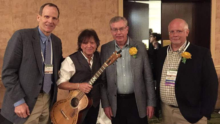Pictured (L-R) after the performance are: BMI's Dan Spears, award-winning BMI songwriter Even Stevens, VRGA President Jim Harrison, and VRGA Board Chair and owner of Harborside Harvest Market, Todd Keyworth.