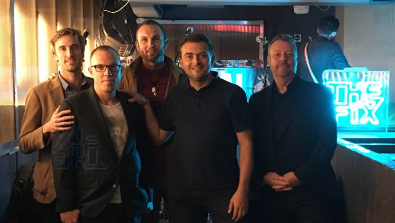 Pictured (L-R) are BMI's Kevin Benz and Jon Miller, Billy Bibby, Frukt's Simon Singleton and BMI's Simon Aldridge.