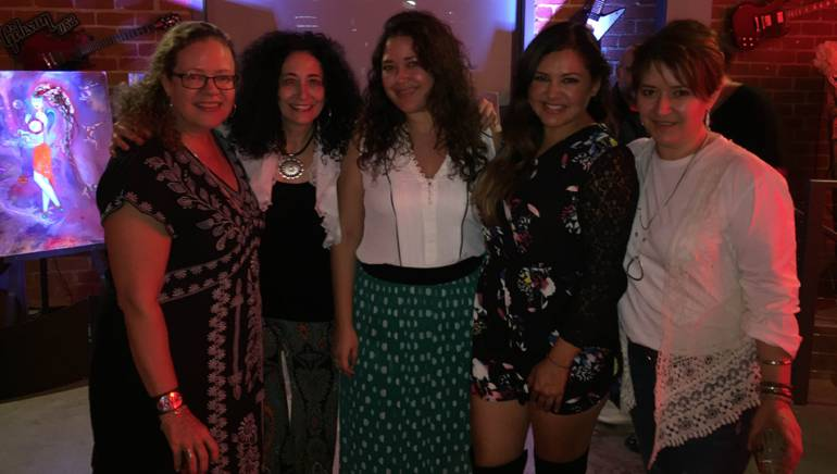 (L-R) Manovill Records' Alexandra L. Gatje, BMI singer/songwriter Eljuri, BMI's Krystina DeLuna, The Living Sessions' Julieta Isela, and The Music Joint Ent. Group's Elena Rodrigo.