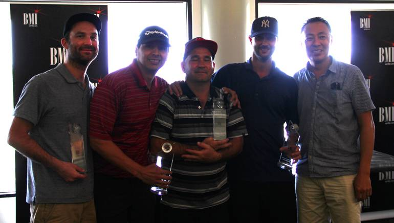 Pictured (L-R) are the tournament's 1st place winners: Pat Restaino, Darrell Urias, Nick Seward and Mozy Mosanko with BMI's Ray Yee.