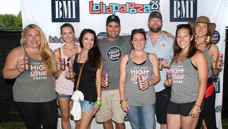 High Brew Coffee's Rikki Kasperski, Traci Miller, McCall Holbeck, David Smith, Mari Johnson, Brian Johnson, Mandee Starsiak and Whitney Utlaut take a break backstage at the BMI stage at Lollapalooza.