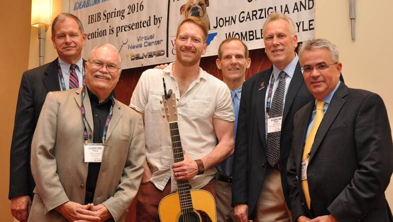 Pictured (L-R) after Baber's performance are: Chadwick Bay Broadcasting Owner Alan Bishop,Bluff City Radio owner and Idea Bank Conference Chair Paul Coates, BMI songwriter Barrett Baber, BMI's Dan Spears, Breck Media Group President Bob Breck and Neuhoff Media COO Mike Hulvey.