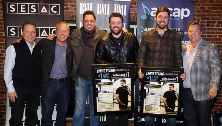 Pictured: (L-R): BMI's Jody Williams, Sony ATV's Troy Tomlinson, songwriter Josh Hoge, BMI songwriter and artist Chris Young, songwriter Corey Crowder and BMI's Bradley Collins.
