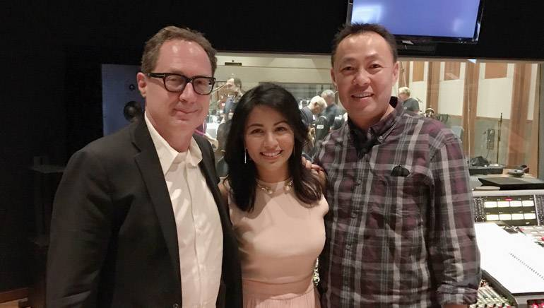 Pictured (L-R) at the scoring session are: BMI Composer Mark Isham, actress and BMI affiliate Karen David (Princess Jasmine) and BMI Assistant Vice President Film/TV & Visual Media Relations, Ray Yee