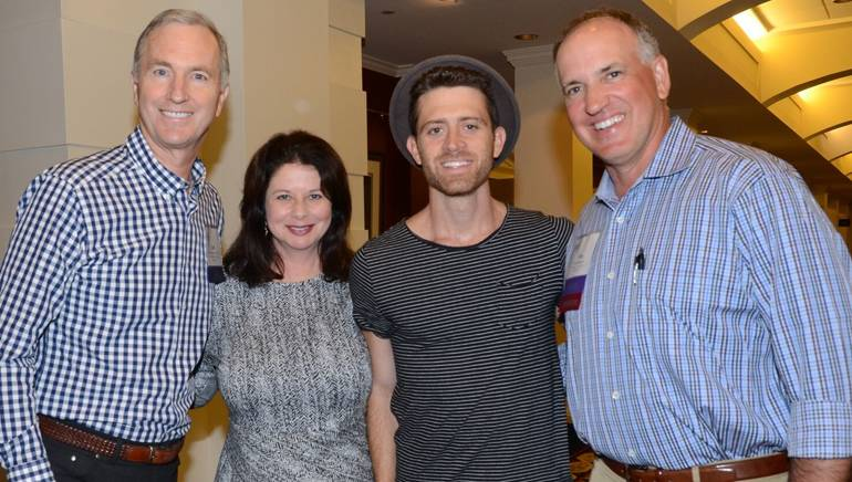 Pictured (L-R) before the performance are: CEO Interstate Hotels & Resorts and AH&LAEF Board Chair Jim Abrahamson, BMI's Jessica Frost, BMI songwriter Brendan James and COO Extended Stay America and AH&LAEF Incoming Board Chair Tom Bardenett.