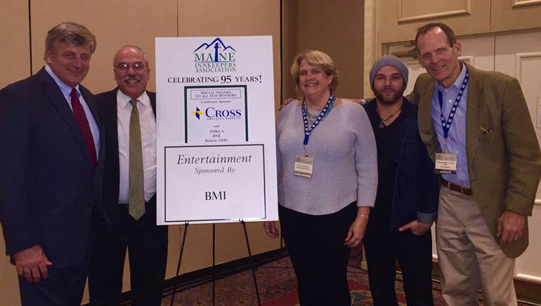 Pictured (L-R) after James' performance are:MIA President and CEO Steve Hewins, MIA Director of Government Affairs Greg Dugal, Nonantum Resort owner and MIA Board Chair Jean Ginn Marvin, BMI singer-songwriter Sam James and BMI's Dan Spears.
