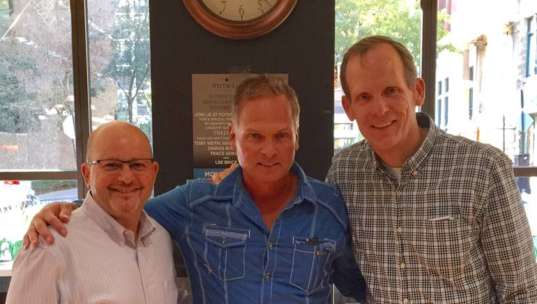 Pictured (L-R) before the Potash Markets shows are: Potash CEO Art Potash, GRAMMY nominated BMI songwriter Tim James and BMI's Dan Spears.
