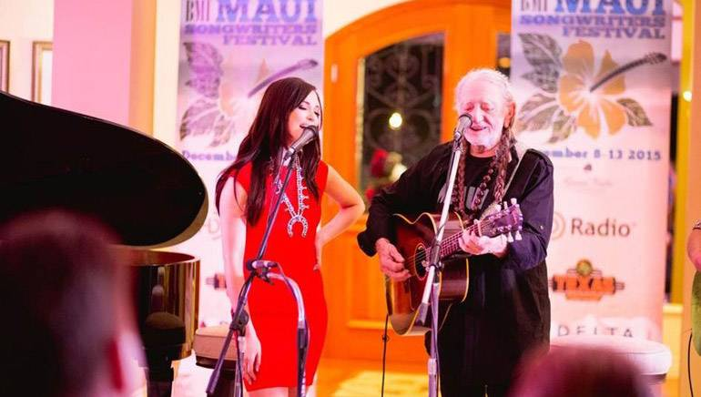 BMI songwriters Kacey Musgraves and Willie Nelson wow the crowd at the BMI Maui Songwriters Festival kickoff party.