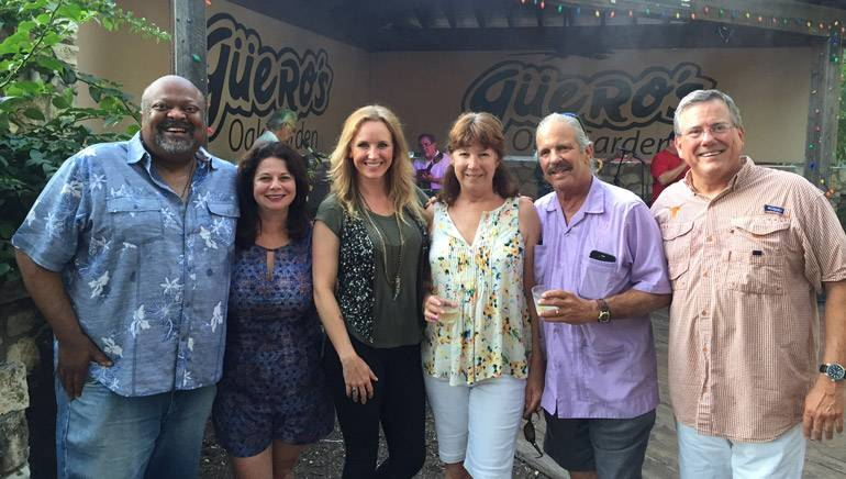 Featured (L-R) before the performance are: TRA Austin Chapter President and owner of Hoovers Cooking, Hoover Alexander; BMI's Jessica Frost; BMI songwriter Kristen Kelly; owners of Guero's, Kathy and Rob Lippincott; and TRA President and CEO Richie Jackson.
