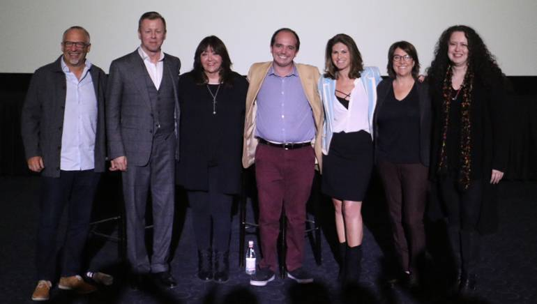 Pictured (L-R) at the SCL screening are agent Seth Kaplan, BMI composer Abel Korzeniowski, BMI's Doreen Ringer-Ross, moderator Zach Laws, Jana Davidoff of cw3pr, agent Christine Russell and Lynn Kowal of SCL.