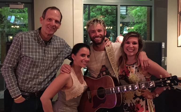 Pictured (L-R) before the performance are BMI's Dan Spears, Fulton Alley Concept Director Leanne Mistretta, BMI songwriter Paul McDonald and Fulton Alley Event Coordinator Victoria Cambise.