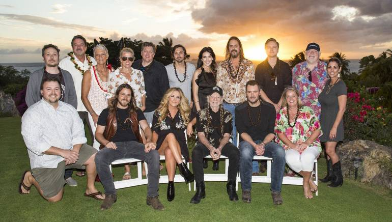 Pictured: L-R: Back Row: BMI songwriter Paul Doucette, sponsors Danny and Claudia Goodfellow, BMI's Leslie Roberts, BMI songwriters Shawn Camp, Charlie Worsham, Aubrie Sellers, Marti Frederiksen, Ethan Ballinger and Dallas Wayne and BMI's Mary Loving. Front Row: BMI's Mason Hunter, BMI songwriter Lukas Nelson, songwriter Lee Ann Womack, BMI songwriters Willie Nelson, Eric Church and Liz Rose.