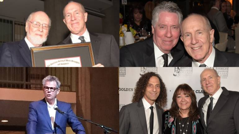 Clockwise from top: BMI composer John Williams presents William Ross with his 2016 Golden Score award; BMI composer Alan Silvestri with William Ross during the ASMAC gala; BMI composer Kenny G and BMI's Doreen Ringer-Ross with 2016 Golden Score award winner William Ross; BMI composer David Foster addresses the crowd honoring Ross.