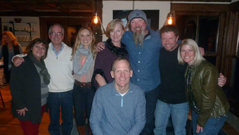 Pictured (L-R) after the performance are (back row): Heart of Rockies Radio owners Terri and Gary Buchanan , the National Restaurant Association's Leslie Paffe, Always Mountain Time Broadcasting General Manager Holli Snyder, BMI songwriters Kendell Marvel and Lee Thomas Miller and Always Mountain Broadcasting Director of Live Events Jenn Radueg. (front row): BMI's Dan Spears.