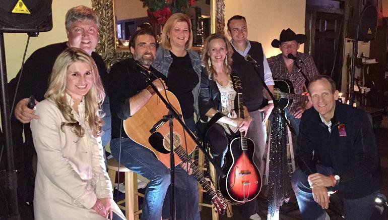 Pictured (L-R) after a performance at the Eastside Grille in Montgomery, Alabama are: Alabama Restaurant & Hospitality Alliance Director of Member Relations Shea Perkins, Little Engine Broadcasting President Terry Barber, BMI songwriter Clint Daniel, Alabama Restaurant & Hospitality Alliance President/CEO Mindy Hanan, BMI songwriter Kristen Kelly, Eastside Grille owner Eric Duggan, BMI songwriter Jimmy Stanley and BMI's Dan Spears.