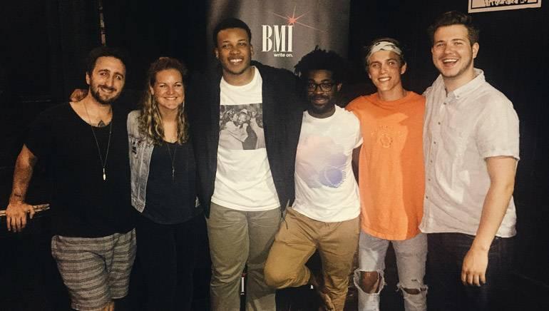 Pictured: (L-R): Atlantic Records' Chris Martignago, BMI's Nina Carter, BMI songwriters CAMM, R. LUM. R. and Zach Taylor and BMI's Josh Tomlinson.