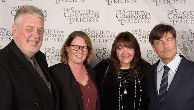 SCL President Ashley Irwin and BMI's Alison Smith and Doreen Ringer-Ross pose with BMI composer and new SCL Ambassador Thomas Newman.