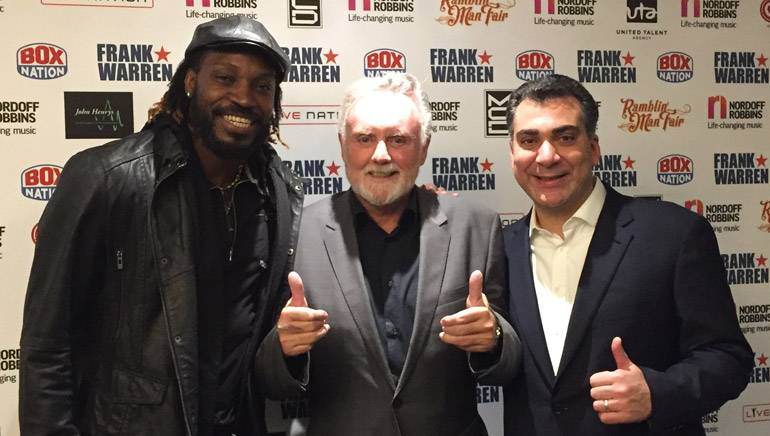 Pictured (L-R) at the charity event are: Jamaican cricket legend Chris Gayle, BMI Icon Roger Taylor and BMI's Brandon Bakshi.