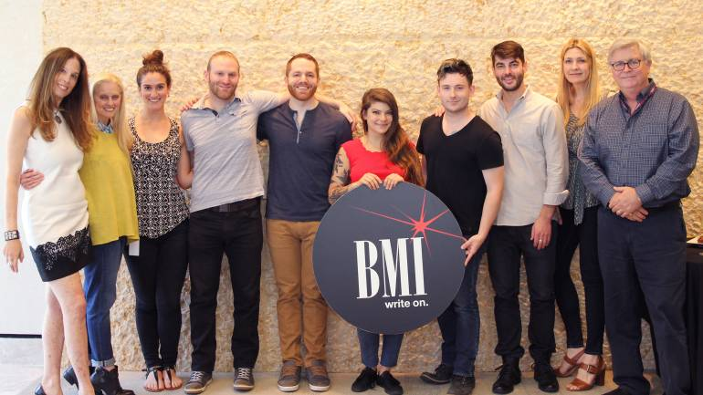 Pictured (L-R) BMI's Brooke Morrow, Barbara Cane, Sarah Middough and Brandon Haas, BMI songwiters Jon Buscema, Donna Missal and Tye James, BMI's Tim Pattison, Samantha Cox and Phil Graham