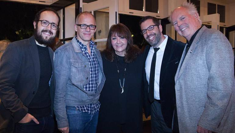 Pictured (L-R) at the celebration are composer Joe Trapanese, MHOF Board member and BMI composer Ed Shearmur, BMI's Ringer-Ross, and BMI composers Christopher Lennertz and George S. Clinton.