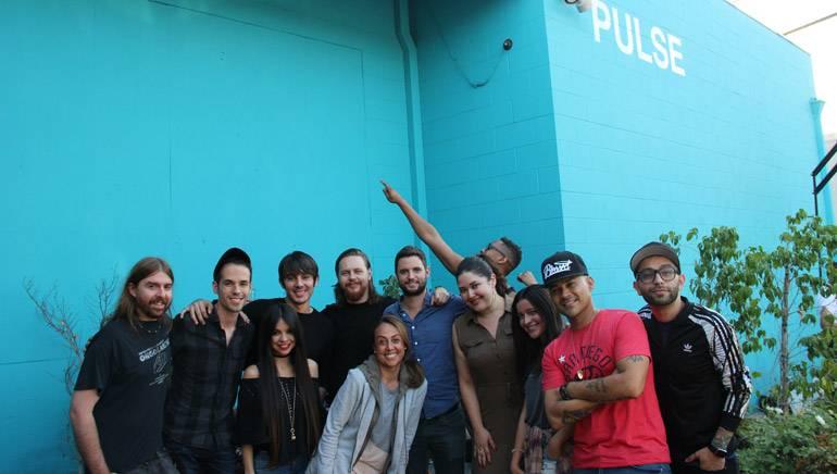 "Members of BMI and the PULSE Music Group enjoy a wrap-up party on the patio of the studio. Back Row: Lovy Longomba; Middle Row: Juan ""Chile"" Covarrubias, Edgar Barrera, Nico Stadi, PULSE Music Group's Steven Gringer, BMI's Krystina DeLuna, Alejandra Alberti, Frankie J, Stefano Vieni; Front Row: Jani Sanchez, BMI's Delia Orjuela"