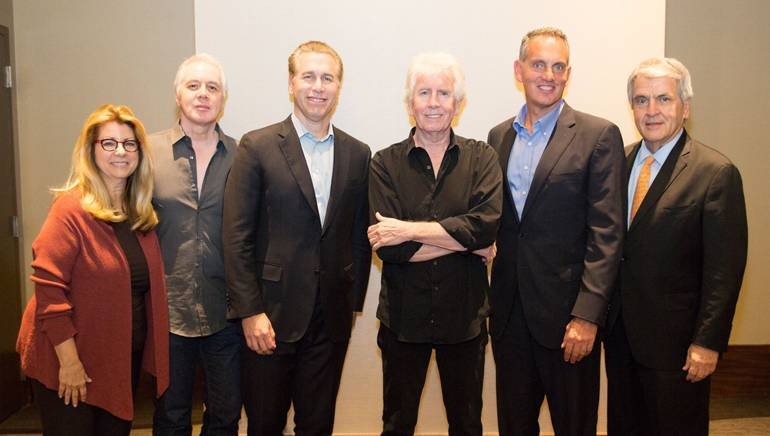 Pictured (L-R) before iconic BMI songwriter Graham Nash's performance are: RAB President and CEO Erica Farber, BMI songwriter and guitarist Shane Fontayne, BMI Senior VP of Licensing Mike Steinberg, BMI songwriter Graham Nash,BMI President and CEO Mike O'Neill and NAB EVP of Radio John David.