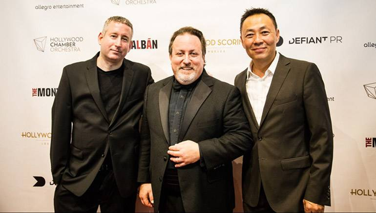 Pictured (L-R) are Hollywood Chamber Orchestra Music Director, co-founder and BMI composer Mark Robertson, BMI composer-conductor Lucas Richman and BMI's Ray Yee.