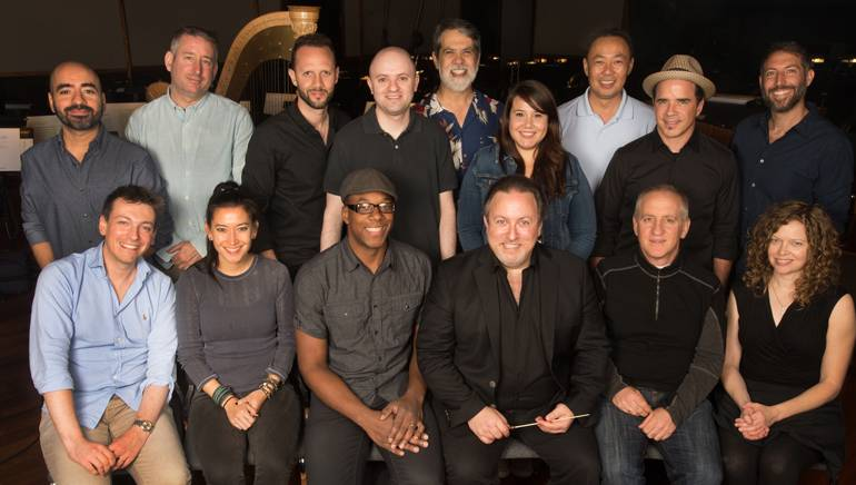 Pictured (L-R) at the BMI conducting workshop are (back row): BMI composer Sandro Morales Santoro, concertmaster Mark Robertson, BMI composer Rick Larrea, BMI's Phillip Shrut, music editor Chris Ledesma, BMI's Evelyn Rascon and Ray Yee, and BMI composers Christopher North and Danny Cocke. (Front row): BMI composers Fabrizio Mancinelli, Sherri Chung and Jermaine Stegall, BMI composer and conductor Lucas Richman, music contractor David Low and BMI composer Melisa McGregor.