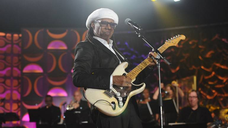 Legendary singer/songwriter and BMI Icon Nile Rodgers performs at the performs at the 2016 Songwriters Hall of Fame Awards in New York City on June 9.