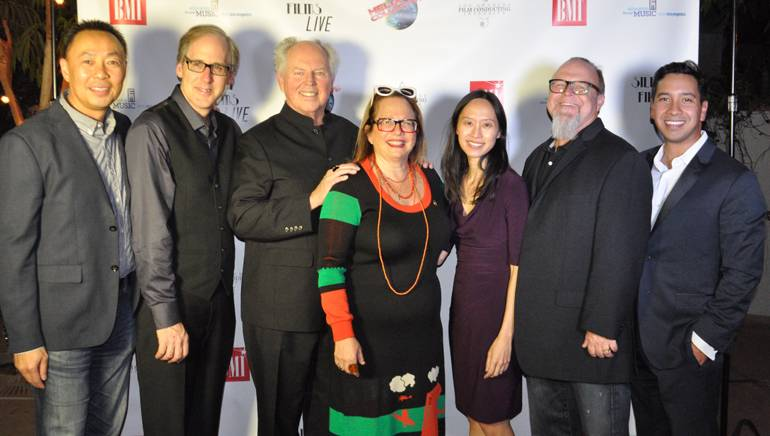 BMI's Ray Yee, BMI composers Jeff Beal, George S. Clinton and Laura Karpman, Executive Director, ETM-LA Victoria Lanier, BMI composer Kevin Kiner and ETM-LA Associate Board Member Angel Velez pause for a photo at the ETM-LA fundraiser.
