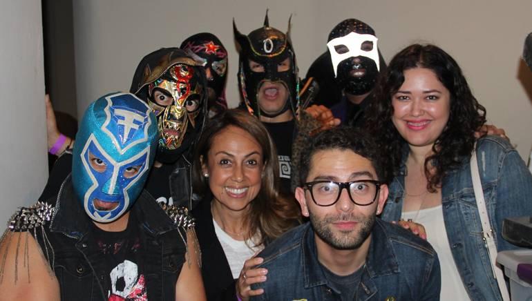 El Conjunto Nueva Ola, BMI's Delia Orjuela, Stefano Vieni, and BMI's Krystina DeLuna pause for a picture backstage.