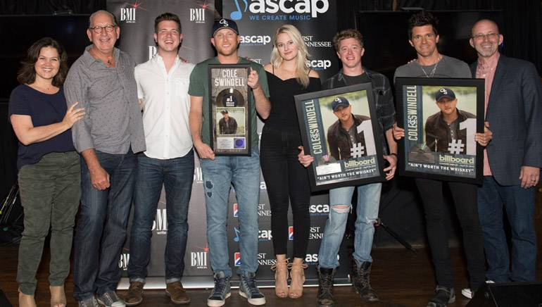 Pictured: (L-R): Big Yellow Dog's Carla Wallace, Warner Music Nashville's John Esposito, BMI's Josh Tomlinson, BMI singer-songwriter Cole Swindell, ASCAP's Beth Brinker, writer Adam Sanders, producer Michael Carter and Sony/ATV Tree Publishing's Terry Wakefield.