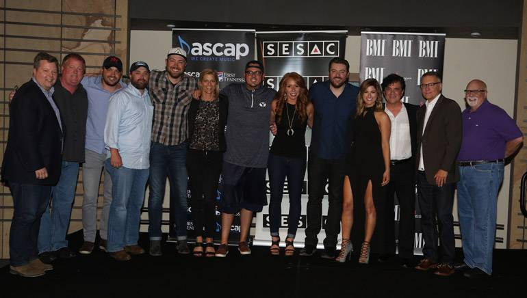 BMI's Bradley Collins, ASCAP's Mike Sistad, Warner Chappell's Travis Carter, Liz Rose Music's Scott Ponce, songwriter Corey Crowder, SESAC's Shannan Hatch, songwriter Josh Hoge, Sony ATV's Hannah Williams, BMI singer-songwriter Chris Young, singer Cassadee Pope, BMLG's Scott Borchetta, Sony's Randy Goodman, Fitzgerald Hartley Management's Larry Fitzgerald.