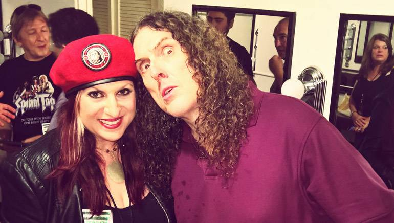 """Weird Al jokes around backstage with BMI's Anne Cecere after his """"Mandatory Fun"""" concert in Santa Barbara."""