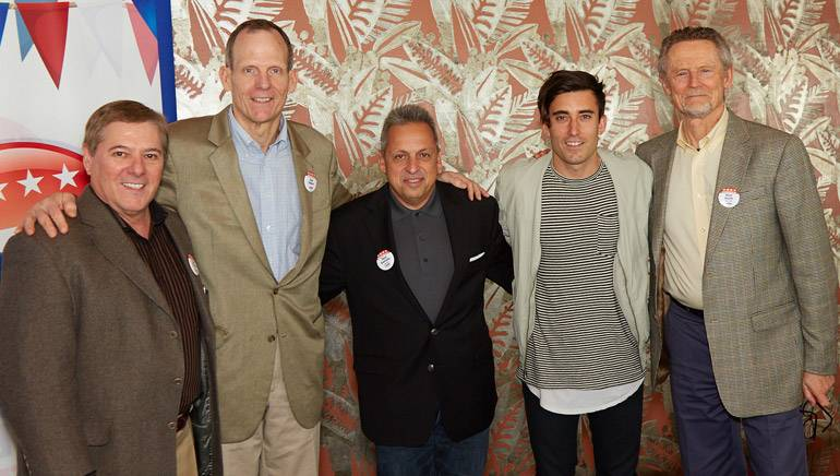 Pictured (L-R) after Phil's performance: Salem Media's Vice President of Operations John Peroyea, BMI's Dan Spears, Salem Media's Broadcast Division President Dave Santrella, BMI singer-songwriter Phil Wickham and  Salem Media Group Senior Vice President Russ Hauth.