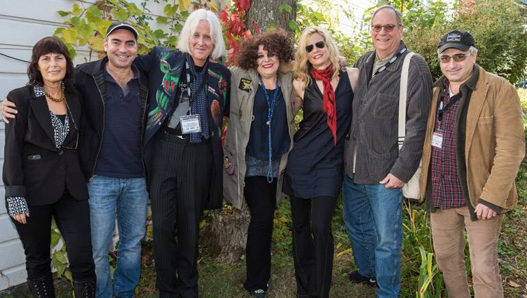 "Pictured (L-R) during the festival are: co-founder and executive director of the Woodstock Film Festival Meira Blaustein; ""God Knows Where I Am"" co-director/producer Jedd Wider, BMI composer Paul Cantelon, BMI songwriter Angela McCluskey, narrator Lori Singer, BMI's Charlie Feldman and ""God Knows Where I Am"" co-director/producer Todd Wider."