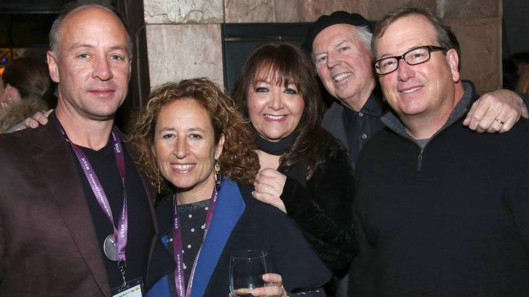 Pictured (L-R) at BMI's annual Sundance dinner at Zoom on Tuesday, January 26 are: musician Mark Barden; director Kim A. Snyder; BMI Vice President, Film/TV Relations, Doreen Ringer-Ross; and composers George S. Clinton and Peter Rotter.