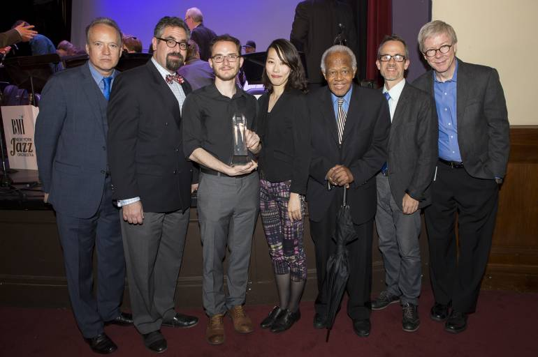 (L-R) at the 29th Annual Jazz Composers Workshop Summer Showcase concert are Jazz Composers Workshop Associate Musical Director Ted Nash, JCW Musical Director Andy Farber, Charlie Parker Prize winner Remy Le Boeuf, 2015 Charlie Parker Prize winner and 2017 Judge Miho Hazama, Judge Slide Hampton, Judge Chris Byars, and BMI's Patrick Cook.