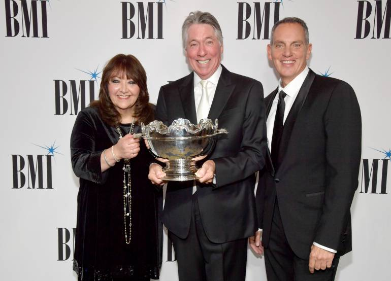 BMI VP Film, TV & Visual Media Relations Doreen Ringer-Ross, 2017 BMI Icon Award recipient Alan Silvestri and BMI President & CEO Mike O'Neill at the 2017 Broadcast Music, Inc (BMI) Film, TV & Visual Media Awards at the Beverly Wilshire Hotel on May 10, 2017 in Beverly Hills, California