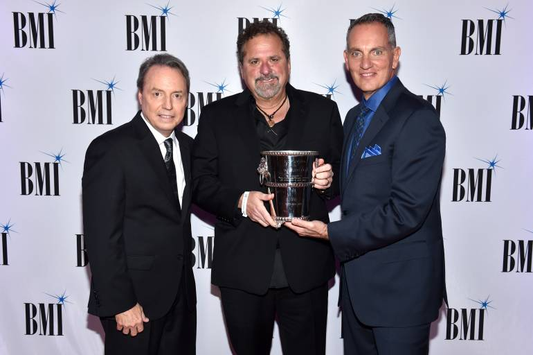BMI Vice President Creative, Nashville Jody Williams, 2017 BMI Icon Bob DiPiero and BMI President & CEO Mike O'Neill attend the 65th Annual BMI Country Awards at BMI on November 7, 2017 in Nashville, Tennessee.