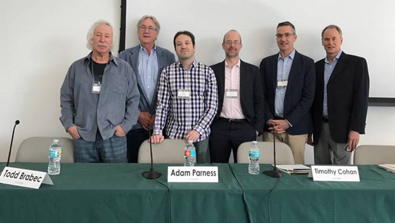 Pictured (L-R) are: Todd Brabec, moderator Henry Root, Adam Parness, Timothy Cohan, BMI's Joe DiMona and Robert McNeely.