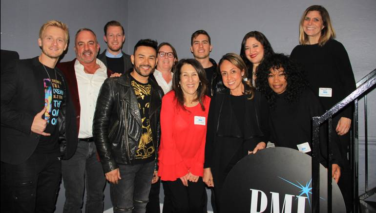 Pictured (L-R) at the AIMP LA chapter's 40th anniversary and holiday party are: (back row): BMI singer/songwriter Anthony Fedorov, BMI's Michael Crepezzi, Chris Dampier and Alison Smith, Loud Luxury's Andrew Fedyk and BMI's Krystina DeLuna and Tracie Verlinde. (front row): BMI singer/songwriter Frankie J and BMI's Delia Orjuela, Barbie Quinn and Arlysha Blake.