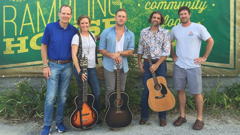 Pictured (L-R) before the performance at The Rambling House in Columbus are: BMI's Dan Spears, BMI songwriters Kristen Kelly, Jimmy Stanley and Clint Daniels and The Rambling House owner John Lynch.