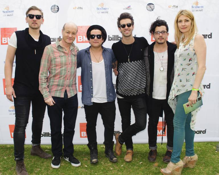 American Authors gather for a photo with Island/Mercury Records' President David Massey and BMI's Samantha Cox at the BMI / Billboard Acoustic Brunch presented by Suntrust Bank during SXSW at the Four Seasons on March 14, 2014, in Austin, TX.