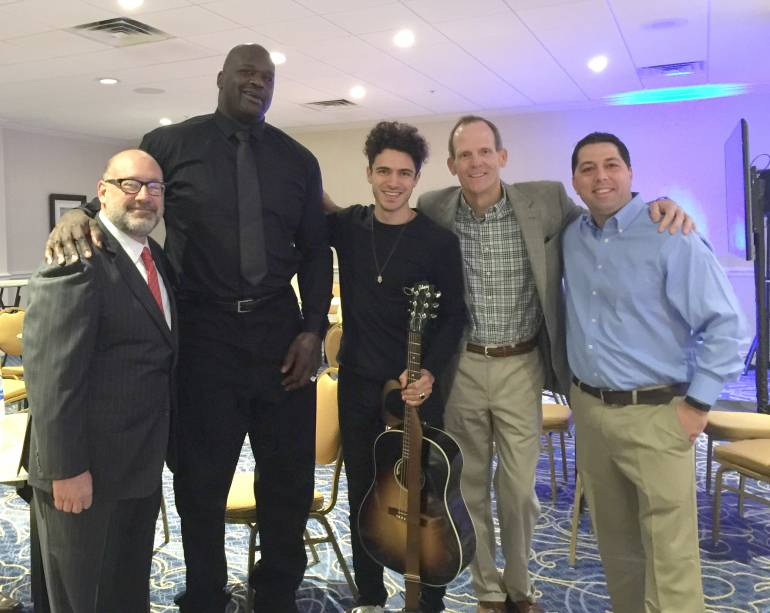 Pictured (L-R) before BMI songwriter Marc Scibilia's performance at the International Bowl Expo are: BPAA Executive Director Frank DeSocio, Expo Keynote Speaker Shaquille O'Neal, Marc Scibilia and BMI's Dan Spears and Steve Ogden.