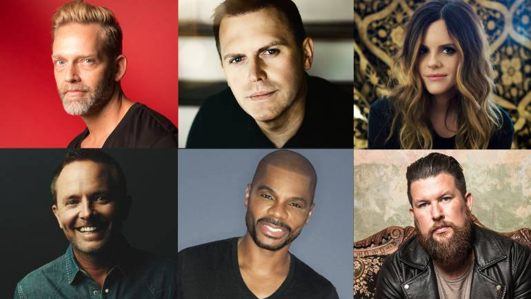 Pictured clockwise from top left:  Bernie Herms, Wayne Haun, Mia Fieldes, Zach Williams, Kirk Franklin, Chris Tomlin