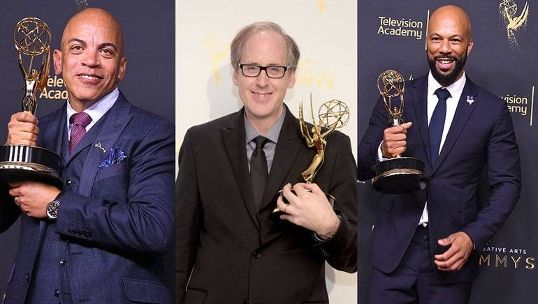 Rickey Minor, Jeff Beal and Common pose with their 2017 Creative Arts Emmys