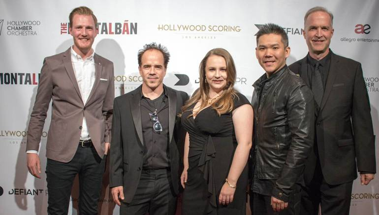 Pictured (L-R) are: BMI's Chris Dampier and BMI composers Christopher North, Elisa C. Rice, Albert Chang and Charles Sydnor.