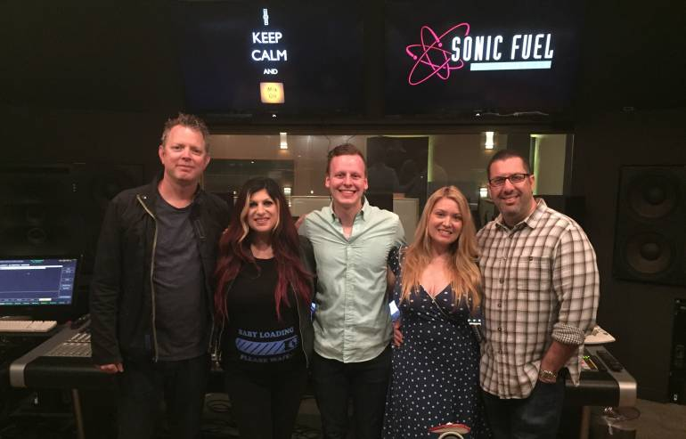 (L to R) BMI Composer and PCF Mentor Tim Wynn; BMI's Anne Cecere; 2016 winner Casey Kolb; Sonic Fuel Studio Manager Shannon 'Doe' Ewing; and BMI Composer and PCF Mentor Christopher Lennertz
